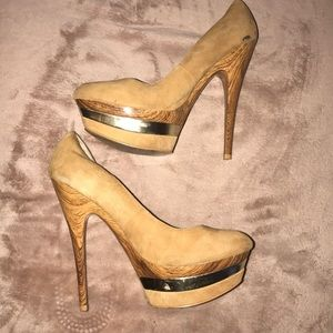 Brown and gold heels